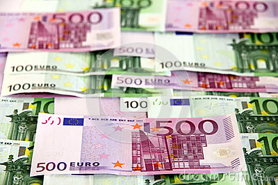 Bunch of 100 and 500 euro banknotes (arranged)