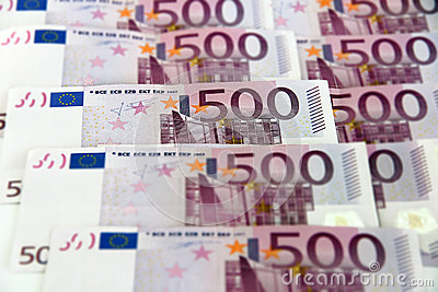 Bunch of  500 euro banknotes (horizontal)