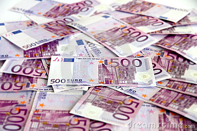 Bunch of 500 euro banknotes (messy)
