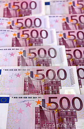 Bunch of 500 euro banknotes (vertical)