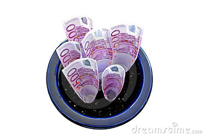 Bunch of 500 Euro notes growing in a pot