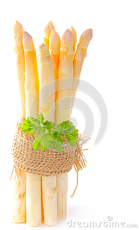 Bunch of asparagus with parsley
