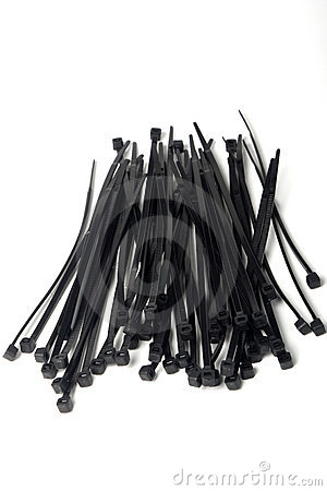 Bunch of black plastic cable ties