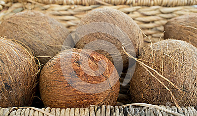 A bunch of coconuts in a basket