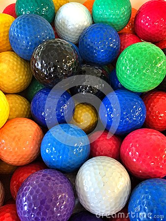 A Bunch Of Colorful Mini-golf Golf Balls Stock Photo ...