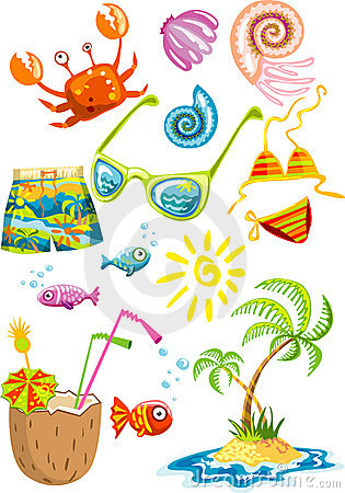 Bunch of colorful sea holiday stuff