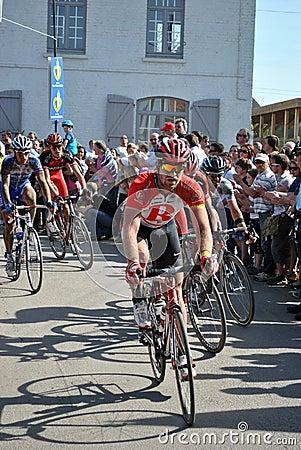 Bunch of cyclists - Paris Roubaix 2011 Editorial Photo