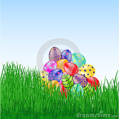 Bunch of easter eggs on the grass Vector Illustration
