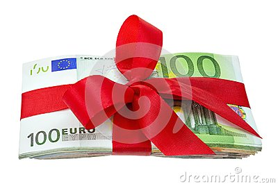 Bunch of euro notes as a gift with bow