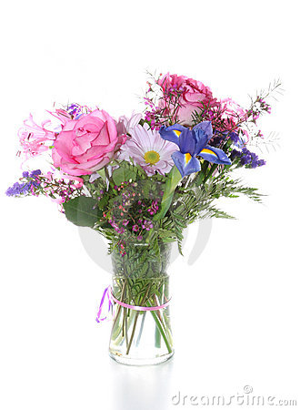 Bunch of Flowers in Vase, Isolated