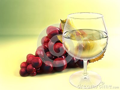 A bunch of grape and wineglass