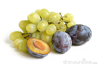 Bunch of grapes and plums