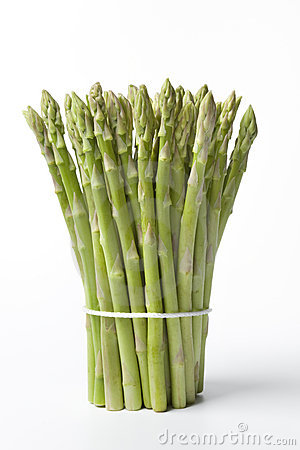 Bunch of healthy green fine asparagus tips