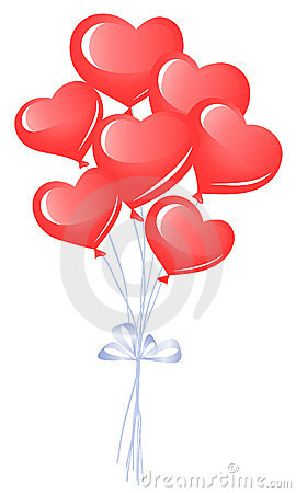 Bunch of heart balloons