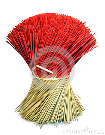 Bunch of Incense Joss Sticks Isolated on White