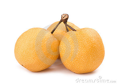 Bunch of isolated asian-pear fruit with stem