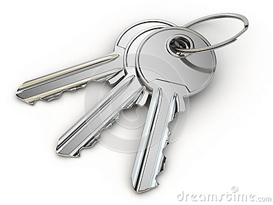 Bunch of keys on white  background.