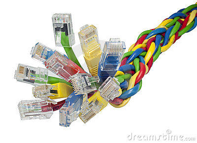Bunch of multi coloured ethernet network cables