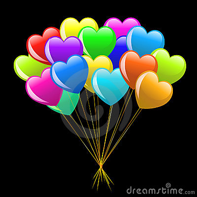 Free Bunch Of Colorful  Cartoon Heart Balloons Royalty Free Stock Photo - 12589745