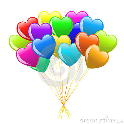 Free Bunch Of Colorful  Cartoon Heart Balloons Stock Photo - 12589750