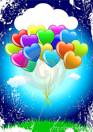 Free Bunch Of Colorful  Cartoon Heart Balloons Stock Photography - 13030532
