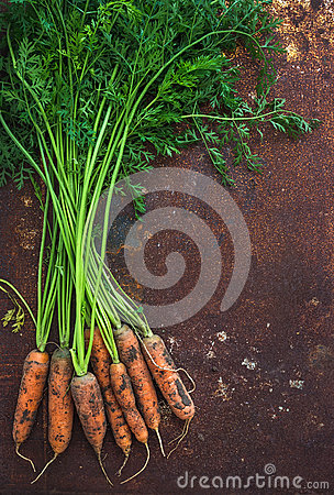 Free Bunch Of Fresh Garden Carrots Over Grunge Rusty Royalty Free Stock Photos - 60576998