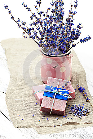 Free Bunch Of Lavender Flowers,soap  On Old Wooden Background.Spa Tre Royalty Free Stock Images - 42574969