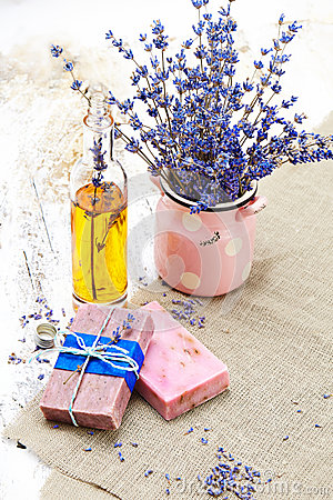Free Bunch Of Lavender Flowers,soap  On Old Wooden Background.Spa Tre Royalty Free Stock Photo - 51193965