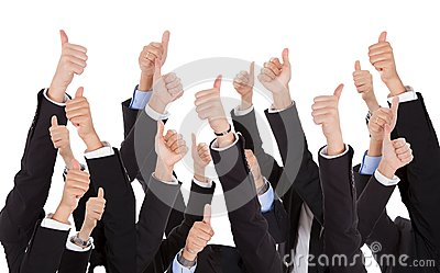 A bunch of raised hands