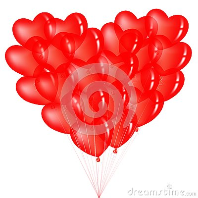 Bunch Of Red Heart Shape Balloons. Vector