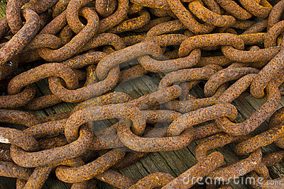 Bunch Of Rusting Steel Chains Stock Photos - Image: 23214713