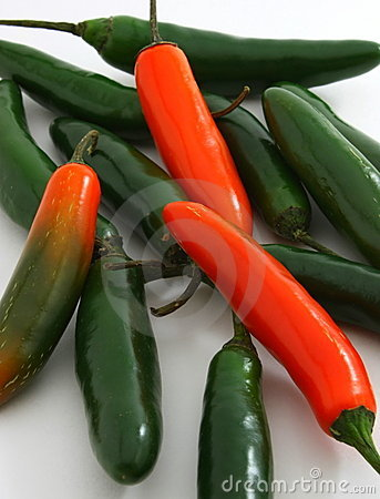 Bunch of serrano peppers, Capsicum annuum