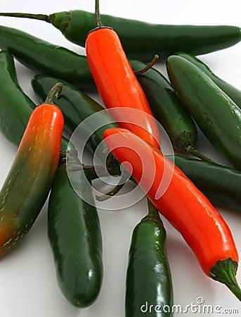 Bunch of serrano peppers, Capsicum annuum
