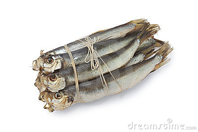 Bunch of smoked sprats
