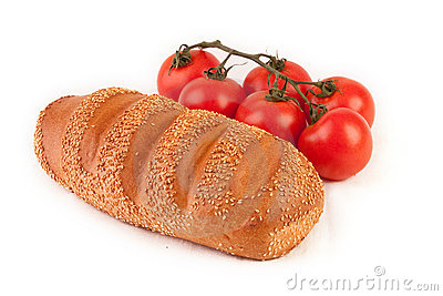 Bunch of tomatoes and bread