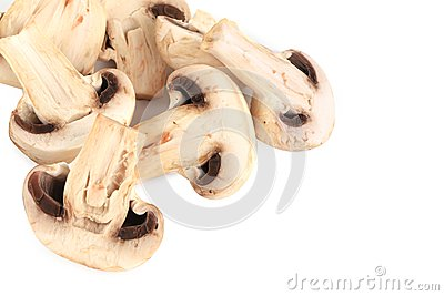 Bunch of white mushrooms close up.