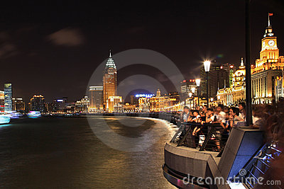 The Bund at night in Shanghai, China Editorial Photography