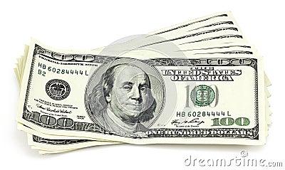 Bundel van honderd-dollar rekeningen