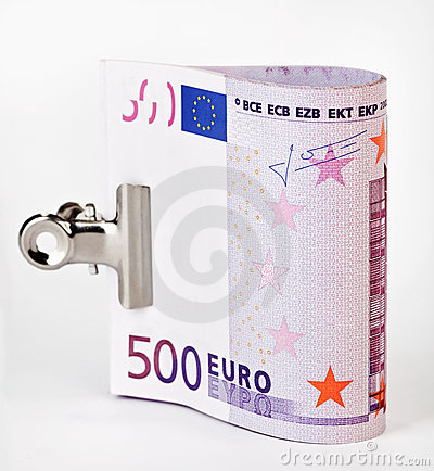 Bundle of 500 Euro bank notes with paper clip