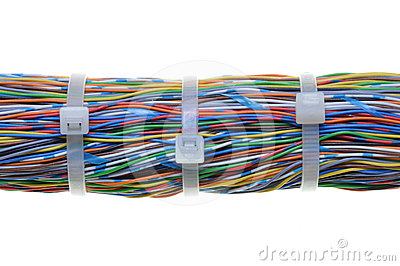 Bundle of cables with white cable ties