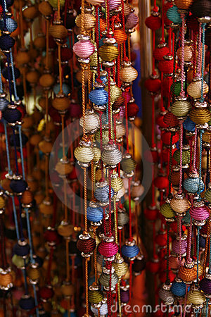 Bundle of colorful beads on a string
