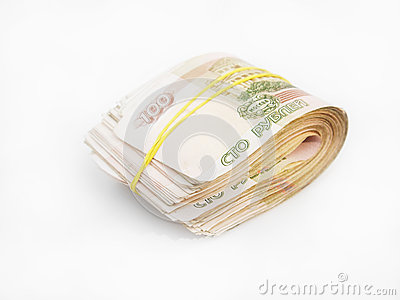 Bundle of Russian banknotes
