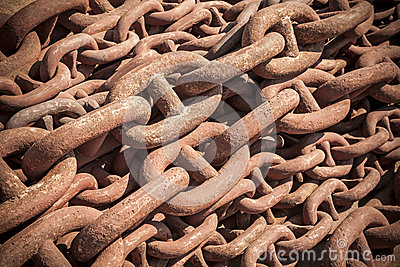 Bundle of rusty naval chain