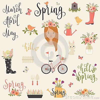 Free Bundle/set Of Spring Icons Royalty Free Stock Image - 112044906