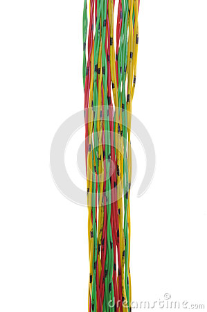 Bundle of yellow red and green cables