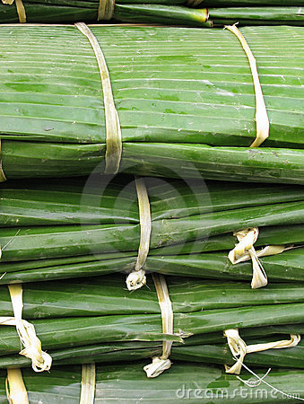 Bundles of banana leaves