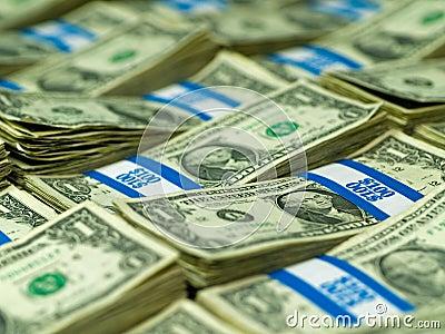 Bundles of U.S. One Dollar Bills