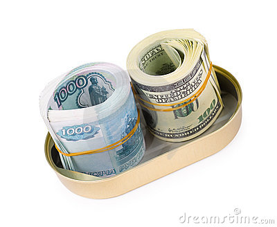 Bundles of US dollars and russian rubles in can