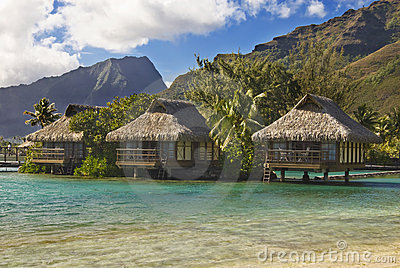 Bungalows on tropical island of Moorea