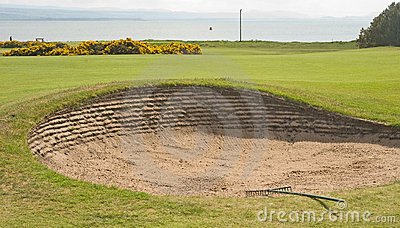 Bunker on golf course by the sea.